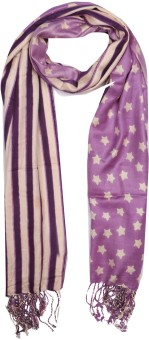Per Te Solo Print Design Stoles Purple Viscose Self Design Women's Shawl