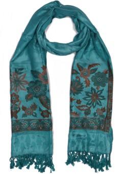 Per Te Solo Jasmine Stoles Dark Green Viscose Self Design Women's Shawl
