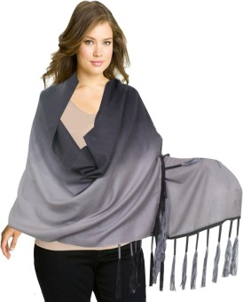 Super Drool Black And Grey Ombre Silk Pashmina With Fancy Leather Fringes Pashmina Solid Women's Shawl