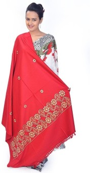 Home India Floral N Paisley Embroidered Kashmiri Woolen Shawl 201 Wool Self Design Women's Shawl