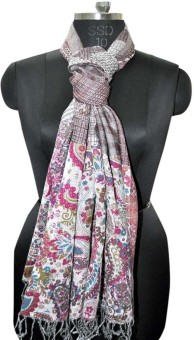Elabore Wool Jacquard With Printed Shawl Wool Woven Women's Shawl