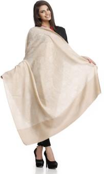 Aapno Rajasthan Beige Feather Light Woolen Shawl Wool Woven Women's Shawl