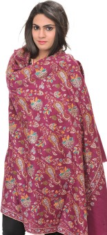 Exotic India With Paisleys And Flowers Pashmina Embroidered Women's Shawl