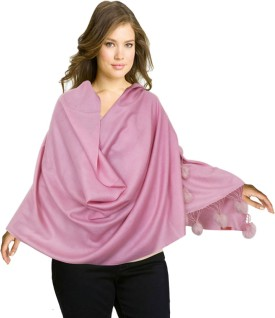 Super Drool Pink Silk Pashmina With Fur Pom Poms Pashmina Solid Women's Shawl