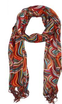 Per Te Solo Print Design Stoles Red Viscose Self Design Women's Shawl
