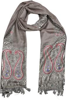 Per Te Solo Leaf Stoles Brown Viscose Self Design Women's Shawl