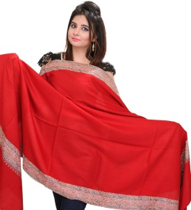 Exotic India With Sozni Embroidery On Border Wool Solid Women's Shawl