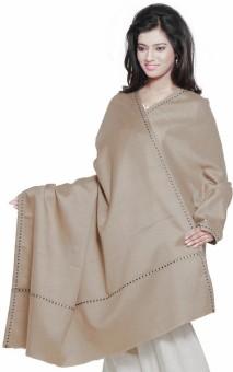 Indigocart Designer Thread Border Cashmilon Plain Style Shawl 153 Wool Self Design Women's Shawl
