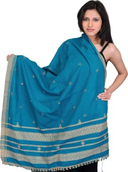 Exotic India With Bootis And Mirrors Wool Embroidered Women's Shawl - SWLE92Z4JGQXPJ8E