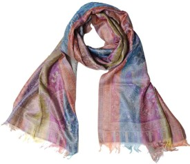 Super Drool Multicolor Wool Blend Silk Self Design Women's Shawl
