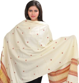 Exotic India With Bootis And Golden Woven Border Wool Embroidered Women's Shawl