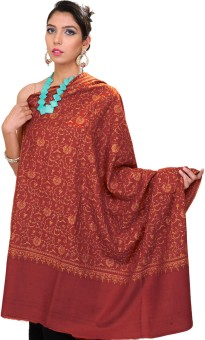 Exotic India With Flowers All-Over Pashmina Embroidered Women's Shawl