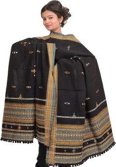 Exotic India With Bootis And Mirrors Wool Embroidered Women's Shawl - SWLE92Z4T3XSXQK8