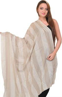 Exotic India With Woven Stripes And Self Weave Wool Self Design Women's Shawl