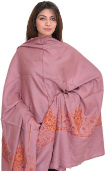 Exotic India With Sozni Hand Embroidery On Border Wool Solid Women's Shawl
