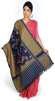 Home India Royal Blue Floral Pattern Kashmeeri Woolen Shawl 205 Wool Self Design Women's Shawl