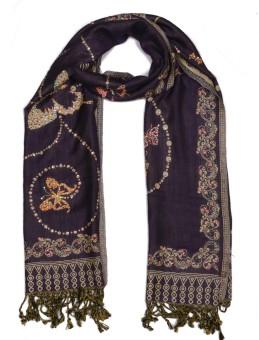 Per Te Solo Butterfly Stoles Purple Viscose Self Design Women's Shawl