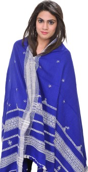 Exotic India With Bootis And Mirrors Wool Embroidered Women's Shawl - SWLE92Z4UGGMWSAQ