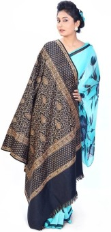 Home India Booti Design Kashmiri Reversible Warm Black Shawl 169 Wool Self Design Women's Shawl