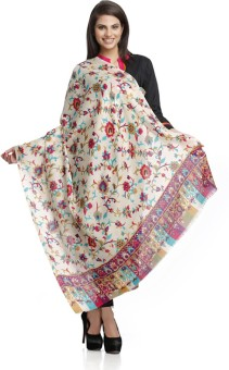 Aapno Rajasthan Grey Woolen Shawl With Floral Design Wool Floral Print Women's Shawl