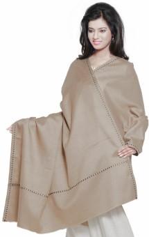 Little India Designer Thread Border Cashmilon Plain Style Shawl 153 Wool Self Design Women's Shawl