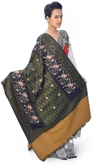 Home India Multi-Color Floral N Paisley Design Woolen Shawl 159 Wool Self Design Women's Shawl
