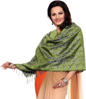 TSG Breeze Green Polyester Self Design Women's Shawl
