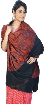 Home India Brick Red Pure Kashmiri Reversible Cashmilon Shawl 171 Wool Self Design Women's Shawl