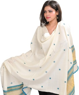 Exotic India With Bootis And Golden Woven Border Wool Embroidered Women's Shawl - SWLE92Z4ZAFXBZ3F