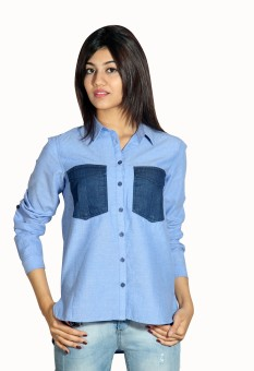 Silly People Sh004blue Women's Solid Casual Shirt