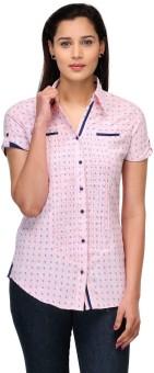 Fashion Cult Pink Women's Printed Casual Shirt