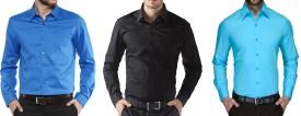 Zeppellin Men's Solid Formal Blue, Black, Blue Shirt Pack Of 3
