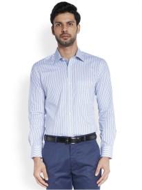 Raymond Men's Striped Formal Blue Shirt