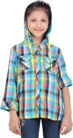 Life by Shoppers Stop Girl's Checkered Casual Blue Shirt