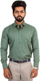 McHenry Men's Solid Formal Green Shirt