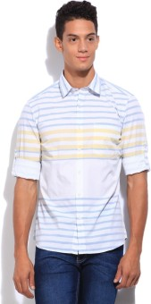 John Players Men's Striped Casual White, Blue, Yellow Shirt