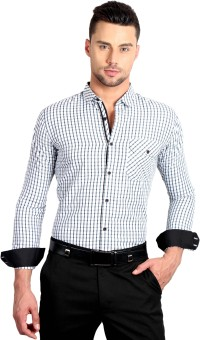 Solemio Men's Checkered Formal Black Shirt