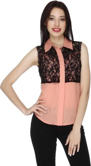 20Dresses Peach Lace Delight Women's Solid Casual Shirt