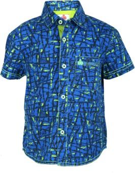 UFO Boy's Printed Casual Blue Shirt