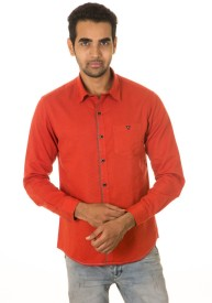 West Vogue Men's Solid Casual Red Shirt