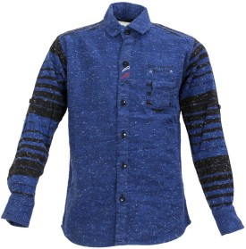 FONT KIDS Boy's Striped Casual Blue Shirt