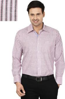 Mafatlal Men's Striped Formal White, Pink Shirt