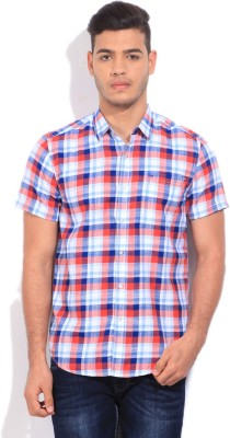 Lee Men's Checkered Casual White, Blue, Red Shirt