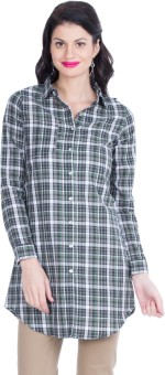 Zovi Grey And White Checkered Long Women's Checkered Casual Shirt