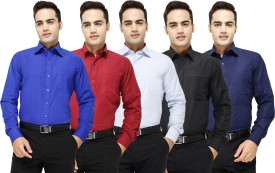 Yuva Men's Solid Formal Blue, Maroon, Light Blue, Black, Dark Blue Shirt Pack Of 5