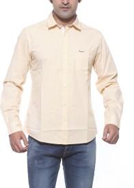 Pepe Men's Striped Casual Yellow Shirt