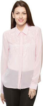 Oxolloxo Part Wear Beaded Women's Solid Casual Shirt