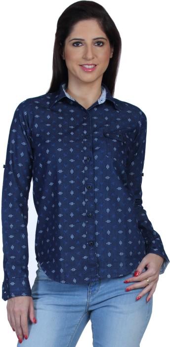 Fast N Fashion Koov Women's Printed Casual Denim Shirt