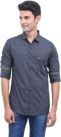 Urbantouch Men's Checkered Casual Green Shirt