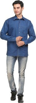 FX Jeans Co Men's Solid Casual, Lounge Wear Denim Shirt